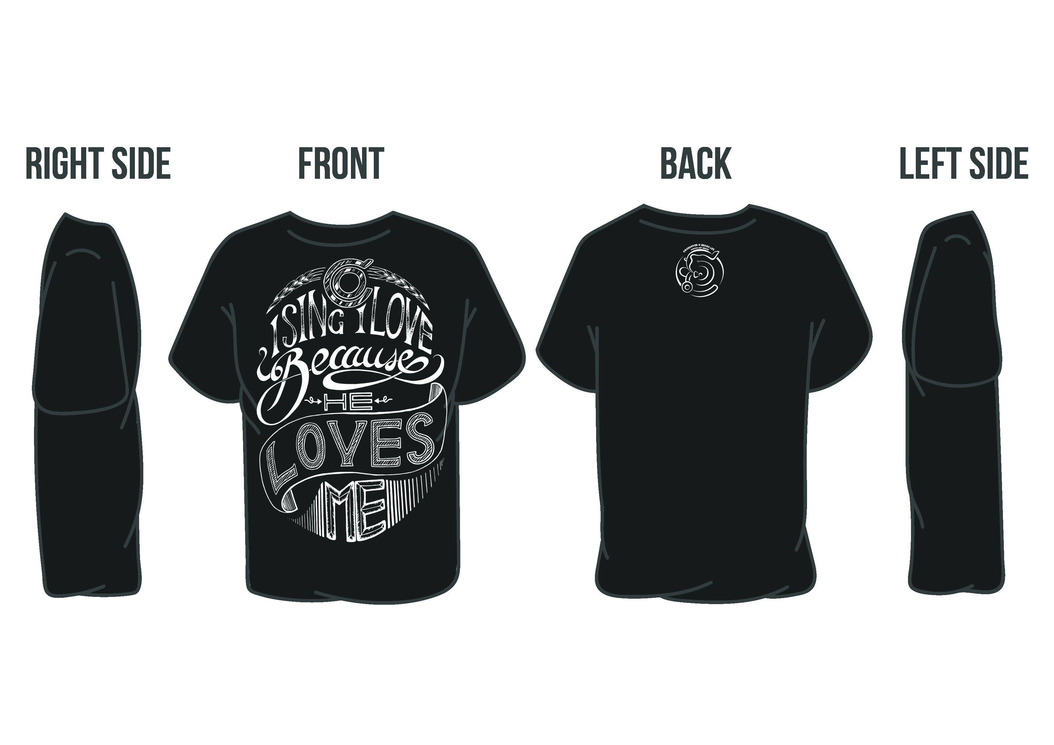i sing i love tshirt black back